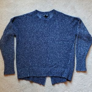 Blue and white marbled fishtail sweater